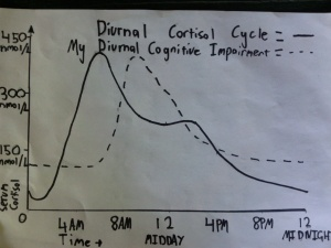 Diurnal cortisol cycle shown in relation to my diurnal cognitive impairment